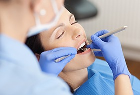Relaxed patient receiving dental care