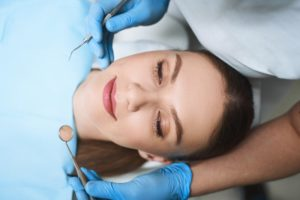 Relaxed woman at dental appointment